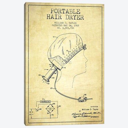 Portable Hair Dryer Vintage Patent Blueprint Canvas Print #ADP277} by Aged Pixel Art Print