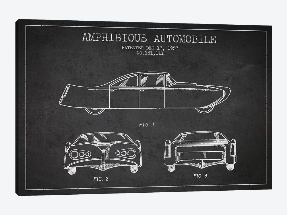 Amphibious Automobile Patent Sketch (Charcoal) II by Aged Pixel 1-piece Art Print