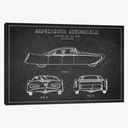 Amphibious Automobile Patent Sketch (Charcoal) II Canvas Print #ADP2780} by Aged Pixel Art Print