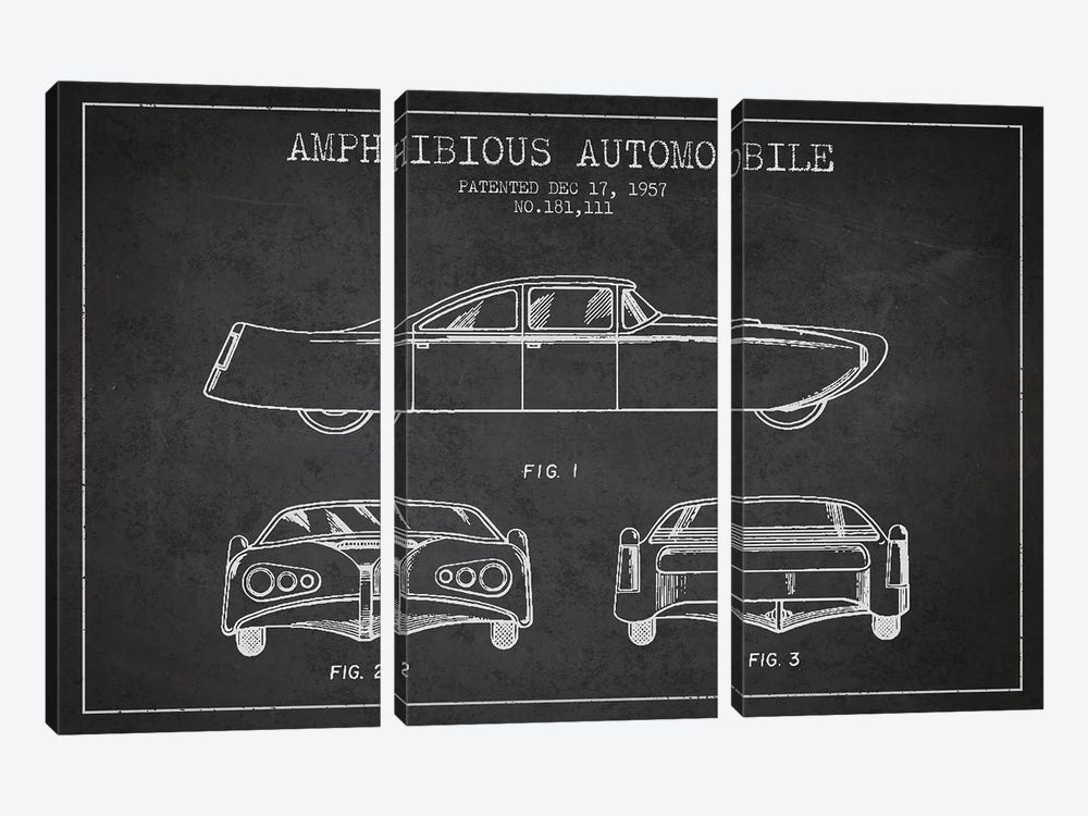 Amphibious Automobile Patent Sketch (Charcoal) II by Aged Pixel 3-piece Art Print