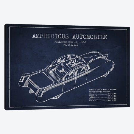 Amphibious Automobile Patent Sketch (Navy Blue) I Canvas Print #ADP2781} by Aged Pixel Canvas Print