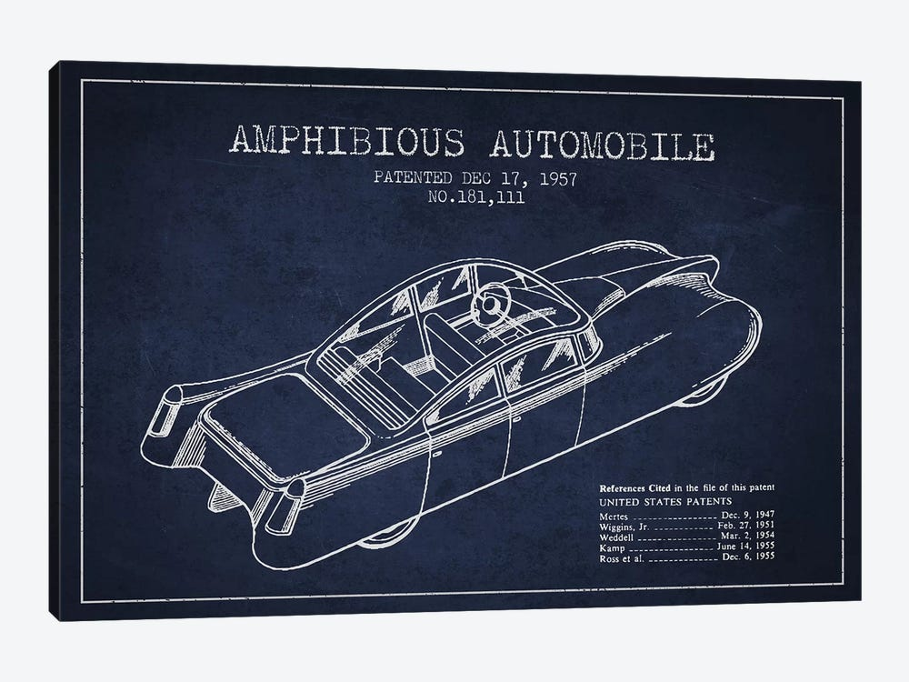Amphibious Automobile Patent Sketch (Navy Blue) I by Aged Pixel 1-piece Canvas Wall Art