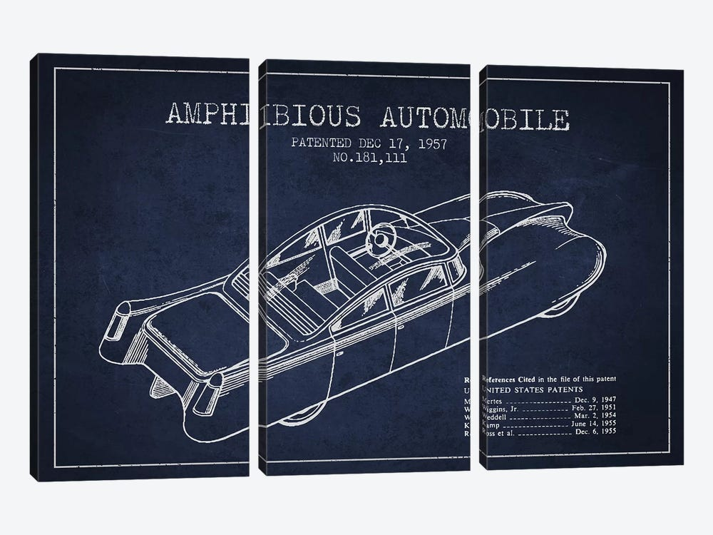 Amphibious Automobile Patent Sketch (Navy Blue) I by Aged Pixel 3-piece Canvas Artwork