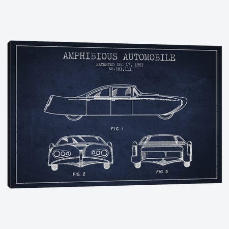 Amphibious Automobile Patent Sketch (Navy Blue) II Canvas Print #ADP2782} by Aged Pixel Canvas Art Print