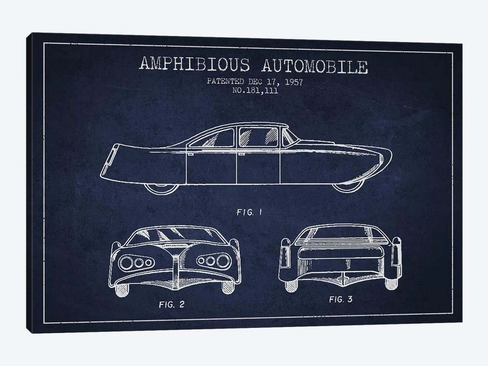 Amphibious Automobile Patent Sketch (Navy Blue) II by Aged Pixel 1-piece Art Print