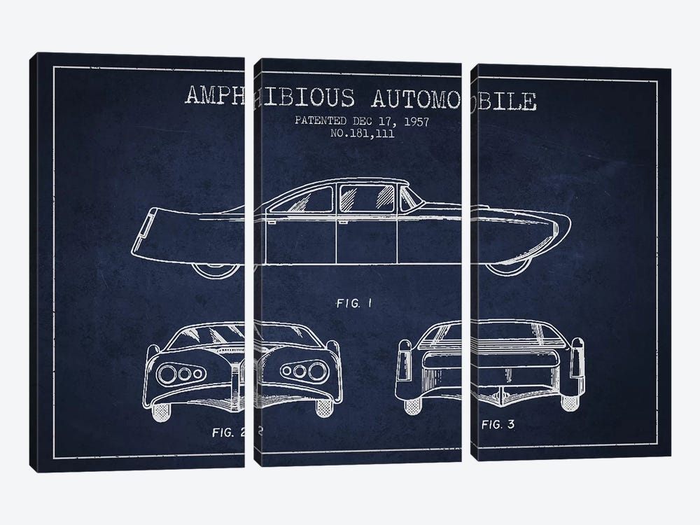 Amphibious Automobile Patent Sketch (Navy Blue) II by Aged Pixel 3-piece Canvas Art Print