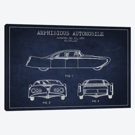 Amphibious Automobile Patent Sketch (Navy Blue) II Canvas Print #ADP2782} by Aged Pixel Canvas Art Print