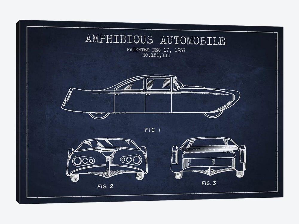 Amphibious Automobile Patent Sketch (Navy Blue) II by Aged Pixel 1-piece Art Print