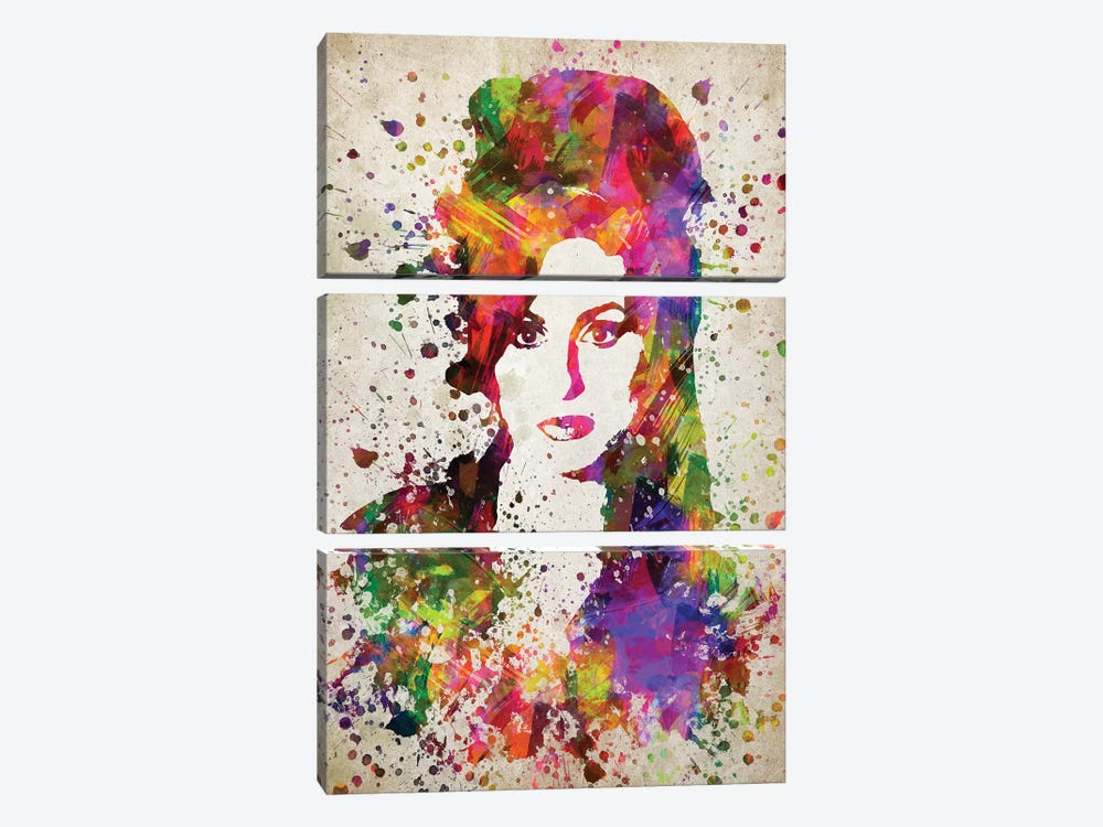 Amy Winehouse by Aged Pixel 3-piece Canvas Art
