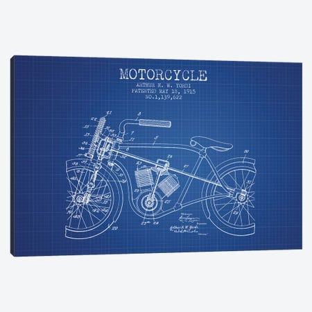 Arthur H.W. Yordi Motorcycle Patent Sketch (Blue Grid) Canvas Print #ADP2788} by Aged Pixel Canvas Art Print