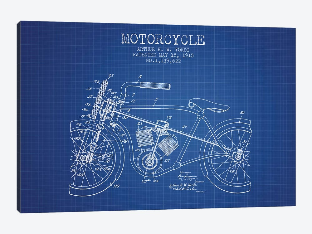 Arthur H.W. Yordi Motorcycle Patent Sketch (Blue Grid) by Aged Pixel 1-piece Canvas Art Print