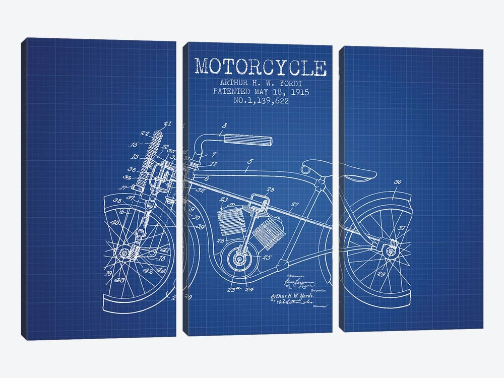 Arthur H.W. Yordi Motorcycle Patent Sketch (Blue Grid) by Aged Pixel 3-piece Canvas Print