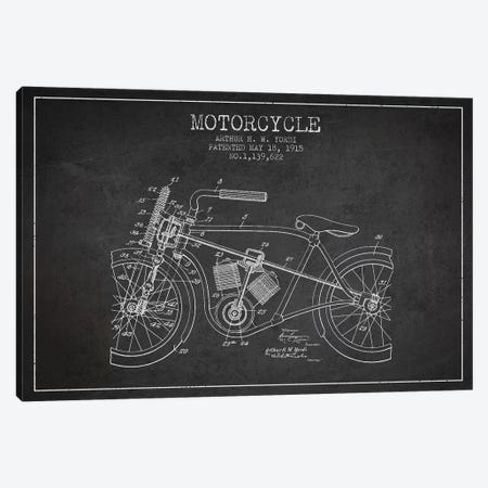 Arthur H.W. Yordi Motorcycle Patent Sketch (Charcoal) Canvas Print #ADP2789} by Aged Pixel Canvas Art Print