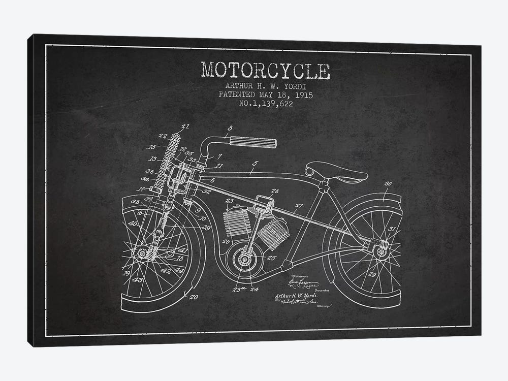 Arthur H.W. Yordi Motorcycle Patent Sketch (Charcoal) by Aged Pixel 1-piece Canvas Wall Art