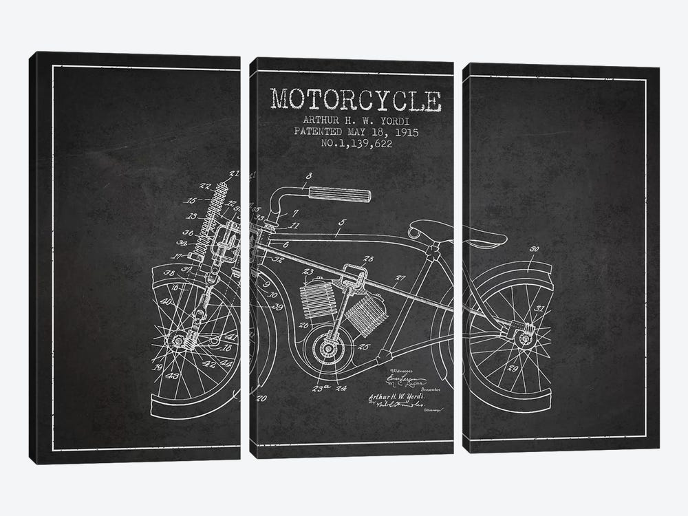 Arthur H.W. Yordi Motorcycle Patent Sketch (Charcoal) by Aged Pixel 3-piece Canvas Art