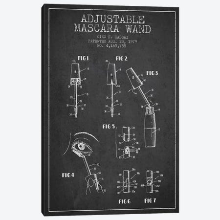 Adjustable Mascara Charcoal Patent Blueprint Canvas Print #ADP278} by Aged Pixel Canvas Artwork