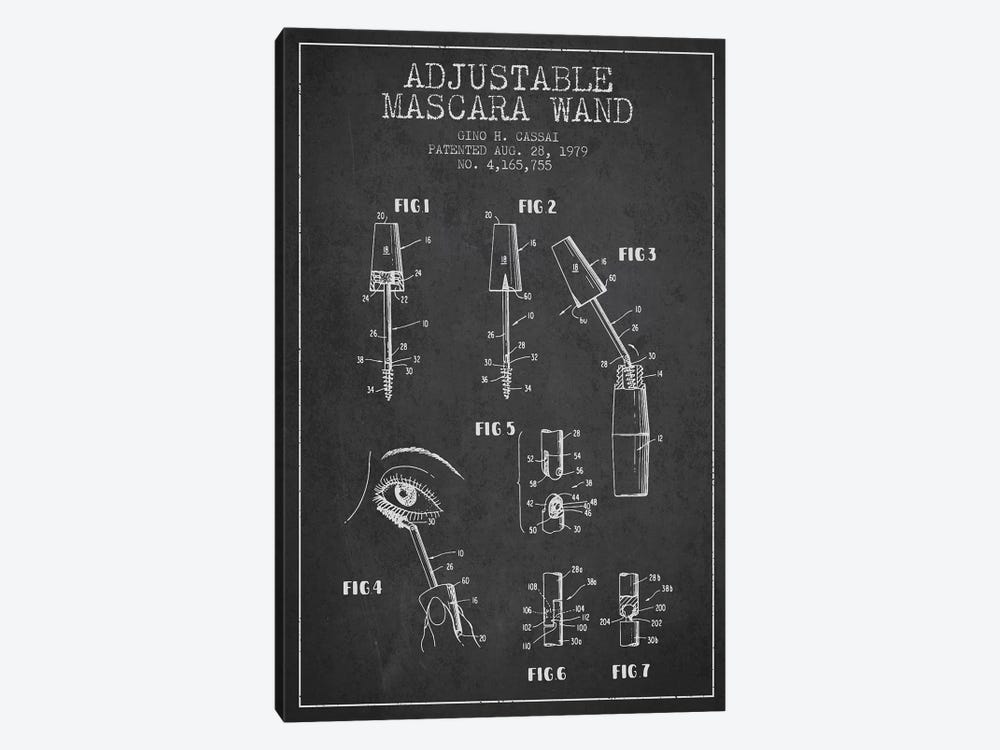 Adjustable Mascara Charcoal Patent Blueprint by Aged Pixel 1-piece Canvas Print