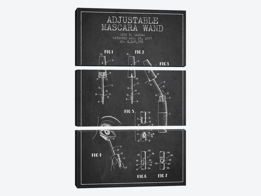 Adjustable Mascara Charcoal Patent Blueprint by Aged Pixel 3-piece Canvas Art Print