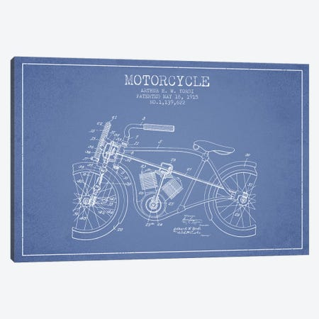Arthur H.W. Yordi Motorcycle Patent Sketch (Light Blue) Canvas Print #ADP2790} by Aged Pixel Canvas Art