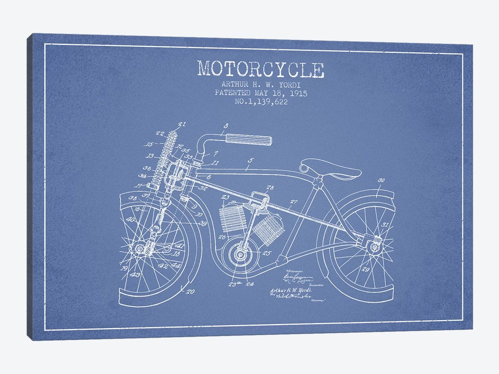 Arthur H.W. Yordi Motorcycle Patent Sketch (Light Blue) by Aged Pixel 1-piece Canvas Art