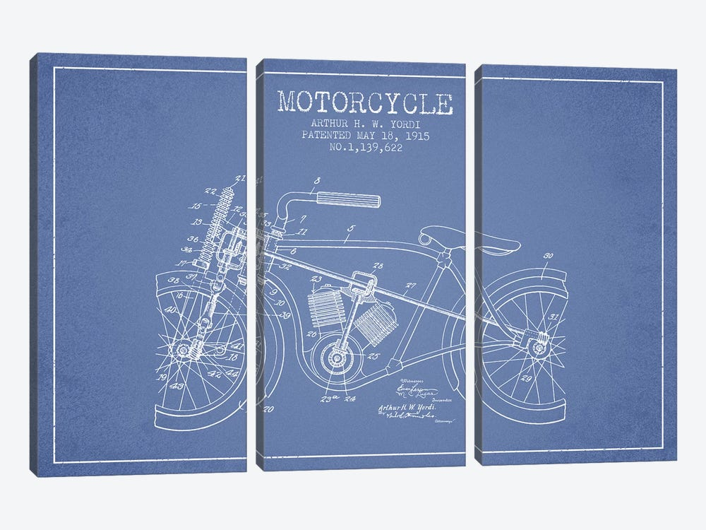 Arthur H.W. Yordi Motorcycle Patent Sketch (Light Blue) by Aged Pixel 3-piece Canvas Wall Art
