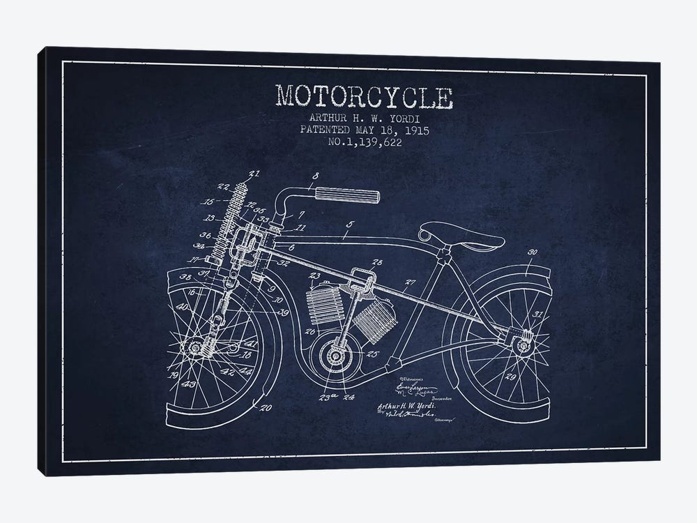 Arthur H.W. Yordi Motorcycle Patent Sketch (Navy Blue) by Aged Pixel 1-piece Canvas Art Print
