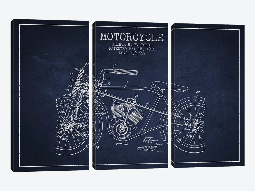 Arthur H.W. Yordi Motorcycle Patent Sketch (Navy Blue) by Aged Pixel 3-piece Canvas Print