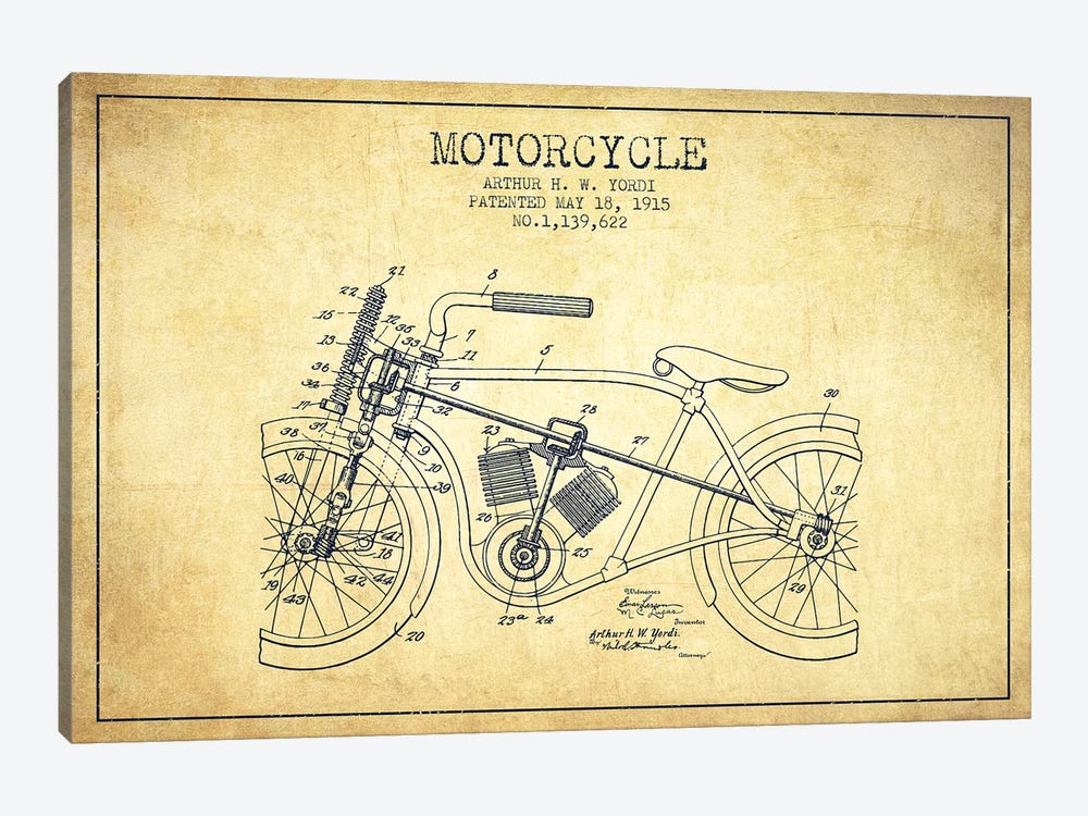 Arthur H.W. Yordi Motorcycle Patent Sketch (Vintage) by Aged Pixel 1-piece Canvas Artwork