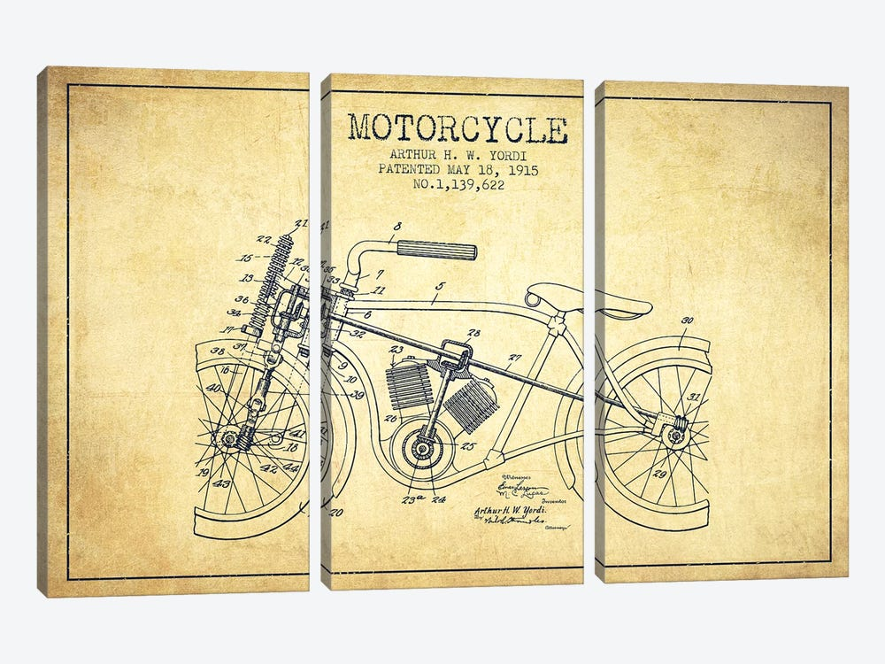 Arthur H.W. Yordi Motorcycle Patent Sketch (Vintage) by Aged Pixel 3-piece Canvas Artwork