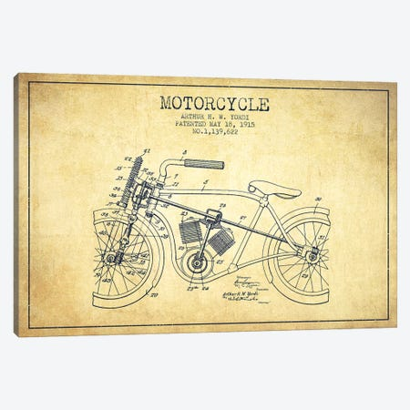 Arthur H.W. Yordi Motorcycle Patent Sketch (Vintage) 3-Piece Canvas #ADP2792} by Aged Pixel Canvas Wall Art