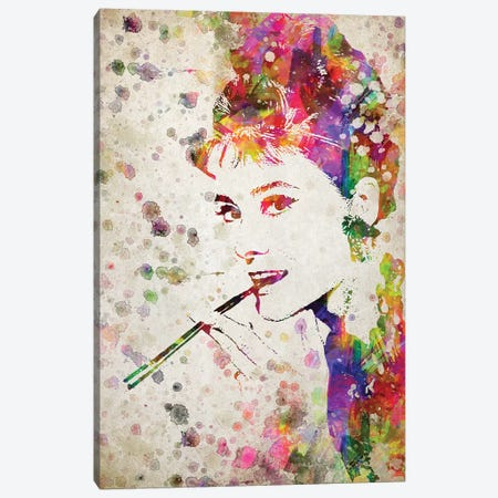 Audrey Hepburn Canvas Print #ADP2793} by Aged Pixel Canvas Artwork