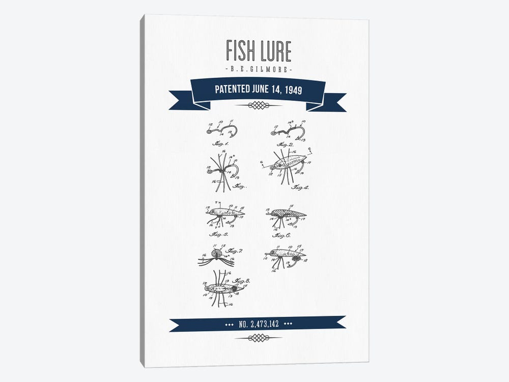 B.E. Gilmore Fishing Lure Patent Sketch (Navy Blue) by Aged Pixel 1-piece Canvas Print