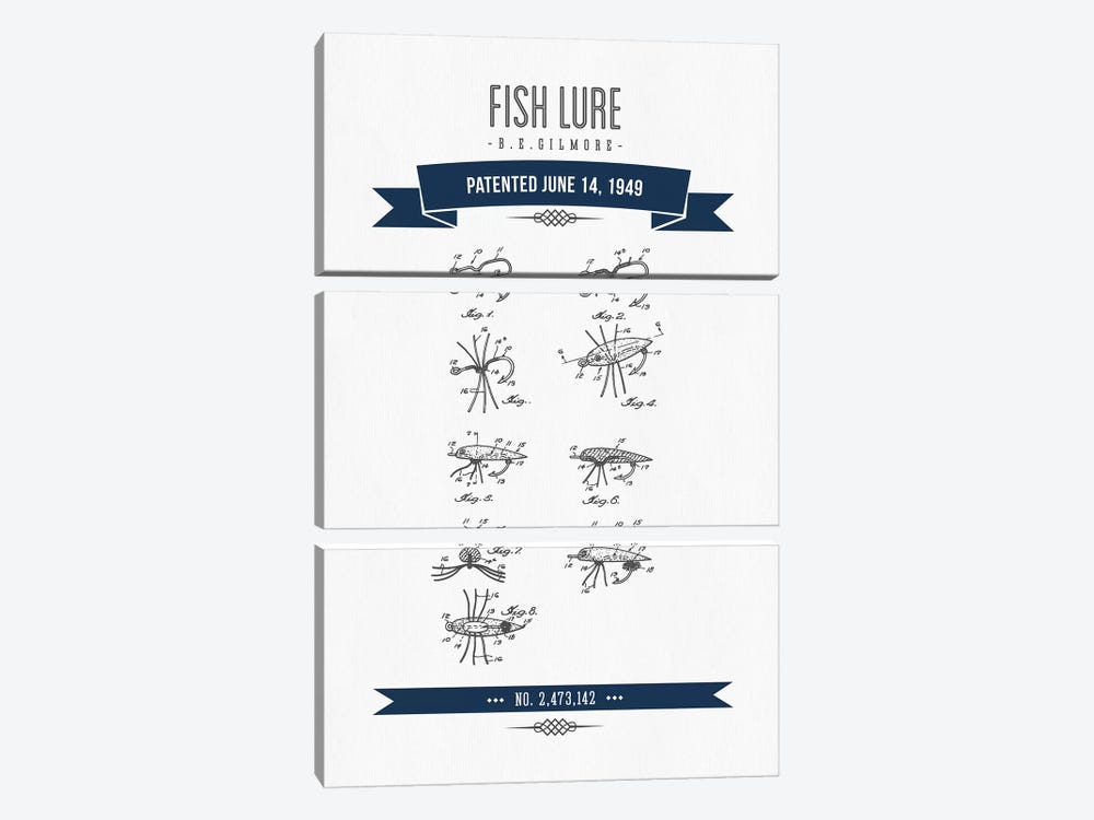 B.E. Gilmore Fishing Lure Patent Sketch (Navy Blue) by Aged Pixel 3-piece Canvas Art Print