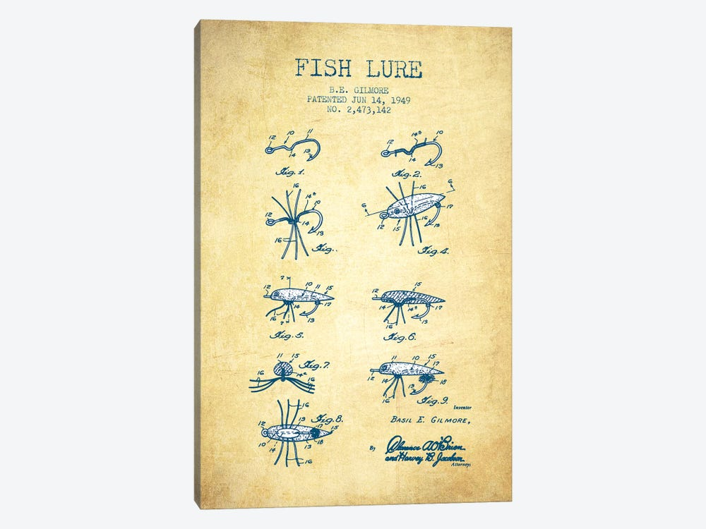 B.E. Gilmore Fishing Lure Patent Sketch (Vintage) by Aged Pixel 1-piece Canvas Art