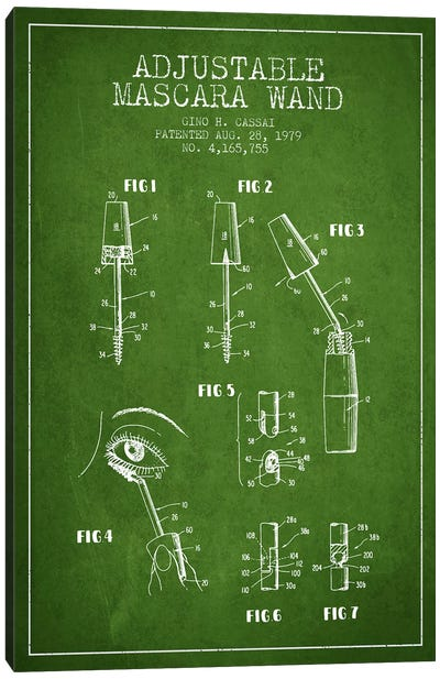 Adjustable Mascara Green Patent Blueprint Canvas Art Print