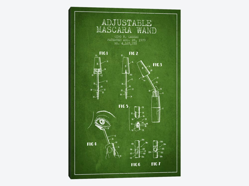 Adjustable Mascara Green Patent Blueprint by Aged Pixel 1-piece Canvas Wall Art