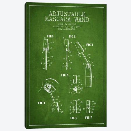 Adjustable Mascara Green Patent Blueprint Canvas Print #ADP279} by Aged Pixel Canvas Art