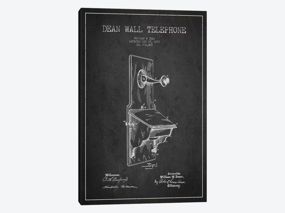 Wall Telephone Dark Patent Blueprint by Aged Pixel 1-piece Canvas Wall Art