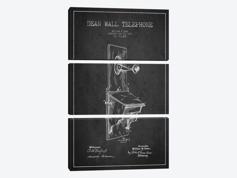 Wall Telephone Dark Patent Blueprint by Aged Pixel 3-piece Canvas Artwork