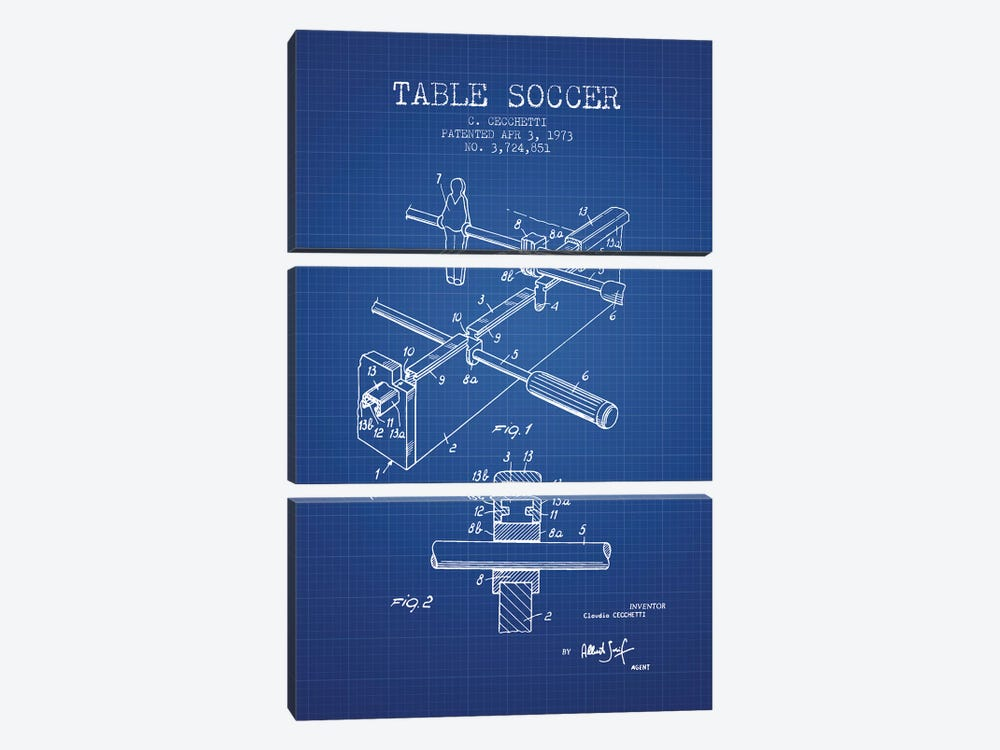 C. Cecchetti Table Soccer Patent Sketch (Blue Grid) by Aged Pixel 3-piece Canvas Art Print