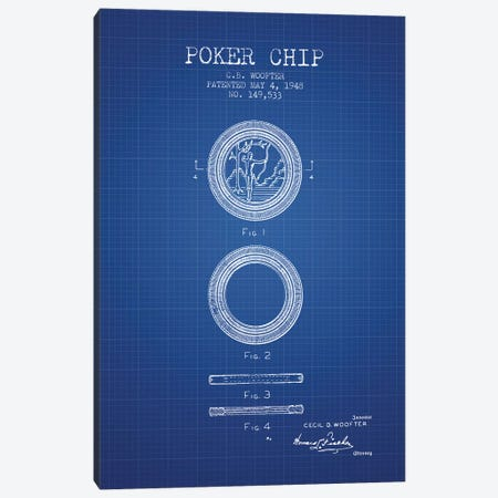 C.B. Woofter Poker Chip Patent Sketch (Blue Grid) Canvas Print #ADP2805} by Aged Pixel Canvas Art Print