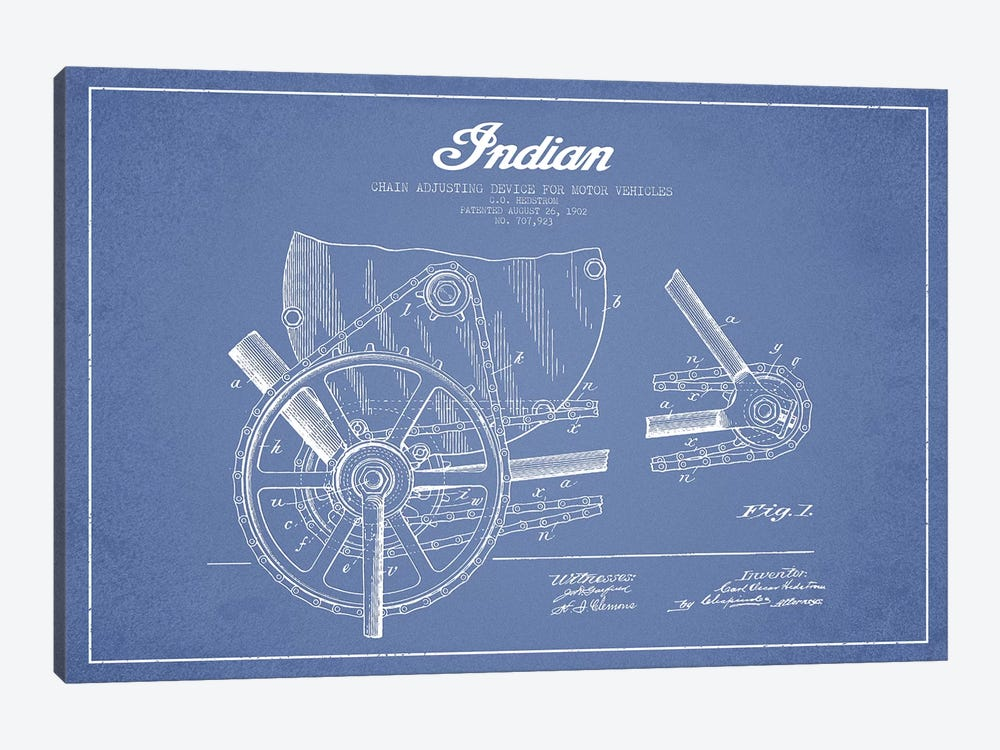 C.O. Hedstrom Indian Motorcycle Chain Adjusting Device Patent Sketch (Light Blue) by Aged Pixel 1-piece Canvas Art Print
