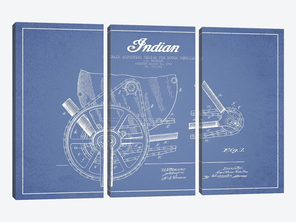 C.O. Hedstrom Indian Motorcycle Chain Adjusting Device Patent Sketch (Light Blue) by Aged Pixel 3-piece Canvas Art Print