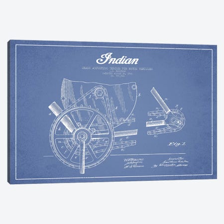 C.O. Hedstrom Indian Motorcycle Chain Adjusting Device Patent Sketch (Light Blue) Canvas Print #ADP2808} by Aged Pixel Canvas Art