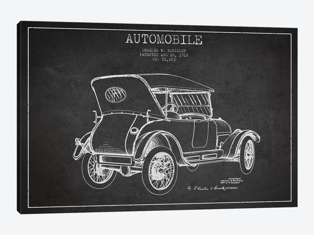 Charles W. McKinley Automobile Patent Sketch (Charcoal) by Aged Pixel 1-piece Canvas Wall Art