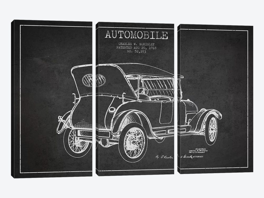 Charles W. McKinley Automobile Patent Sketch (Charcoal) by Aged Pixel 3-piece Canvas Wall Art