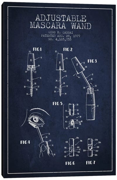Adjustable Mascara Navy Blue Patent Blueprint Canvas Art Print