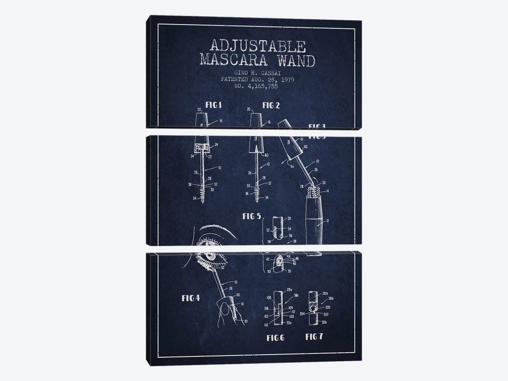 Adjustable Mascara Navy Blue Patent Blueprint by Aged Pixel 3-piece Canvas Wall Art