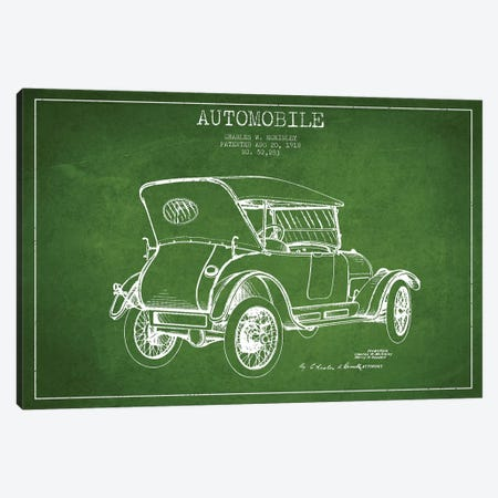 Charles W. McKinley Automobile Patent Sketch (Green) Canvas Print #ADP2810} by Aged Pixel Canvas Art Print