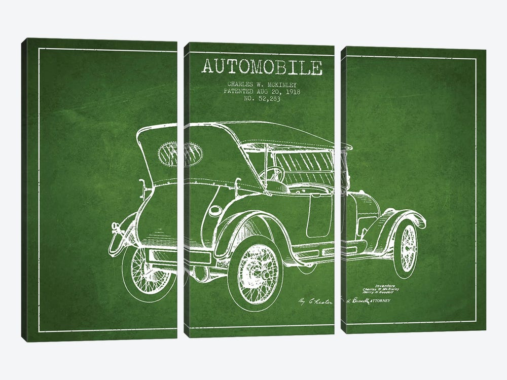 Charles W. McKinley Automobile Patent Sketch (Green) by Aged Pixel 3-piece Canvas Wall Art